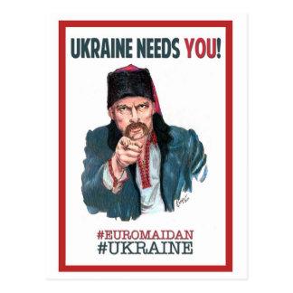 ¡Ucrania le necesita! Tarjeta Postal
