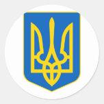Ucrania poco escudo de armas etiqueta redonda
