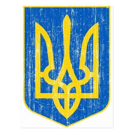 Ucrania poco escudo de armas postal