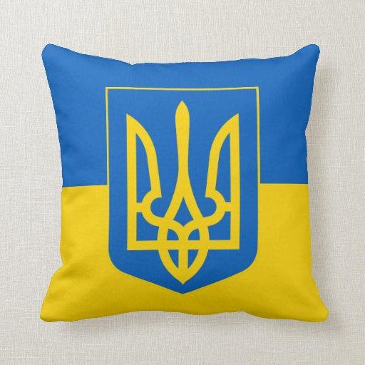 Ucrania Trident en bandera amarilla y azul Cojines