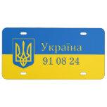 Ucrania Trident en bandera amarilla y azul Placa De Matrícula