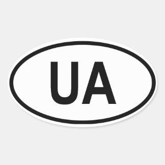 """Ucrania """"UA """" Pegatina Ovalada"""