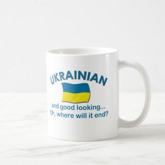 Ucraniano apuesto taza básica blanca