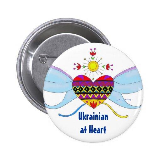 Ucraniano en el arte popular ucraniano del corazón pin
