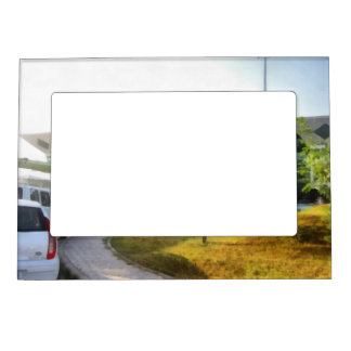 udaipur airport and cars in front magnetic photo frame