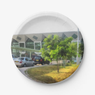 Udaipur airport and cars in front paper plate