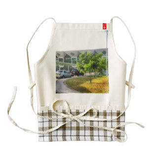 Udaipur airport and cars in front zazzle HEART apron