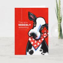 Udderly Amazing Sweetheart Cow Personalized Holiday Card