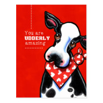 Udderly Amazing Sweetheart Cow Postcard