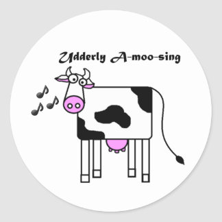 Udderly Uno-MOO-canta el dibujo animado divertido Pegatina Redonda