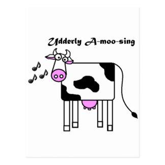 Udderly Uno-MOO-canta el dibujo animado divertido Postal
