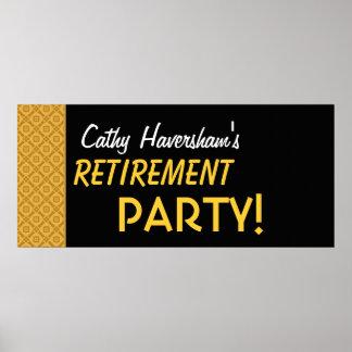 UDEVELOP Retirement Party Banner Gold Black Poster