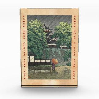 Udo Tower, Kumamoto Castle in rain Kawase Hasui Award