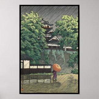 Udo Tower, Kumamoto Castle in rain Kawase Hasui Print