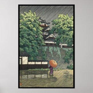 Udo Tower, Kumamoto Castle in rain Kawase Hasui Poster
