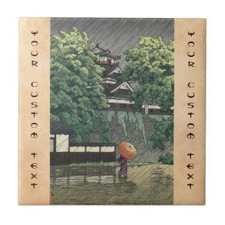 Udo Tower, Kumamoto Castle in rain Kawase Hasui Ceramic Tiles