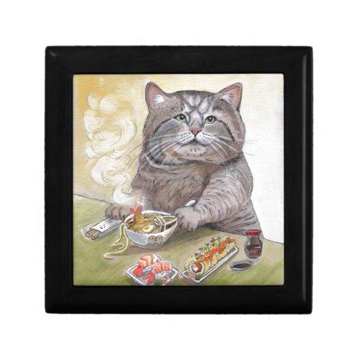 Udon del Tempura del gato del sushi Joyero Cuadrado Pequeño