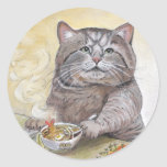 Udon del Tempura del gato del sushi Pegatina Redonda