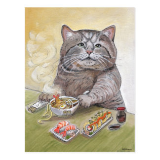 Udon del Tempura del gato del sushi Postales