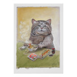 Udon del Tempura del gato del sushi Poster