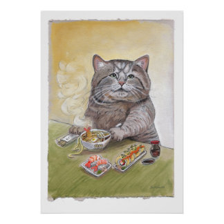 Udon del Tempura del gato del sushi Póster