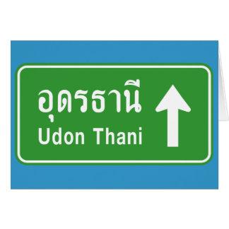 Udon Thani Ahead ⚠ Thai Highway Traffic Sign ⚠ Greeting Card
