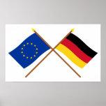 UE y banderas cruzadas Alemania Poster