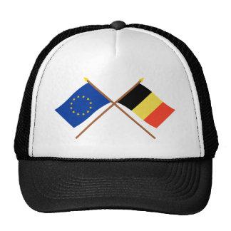 UE y banderas cruzadas Bélgica Gorras