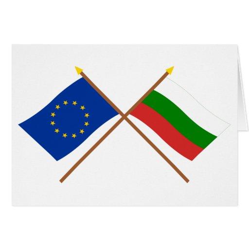 UE y banderas cruzadas Bulgaria Felicitación