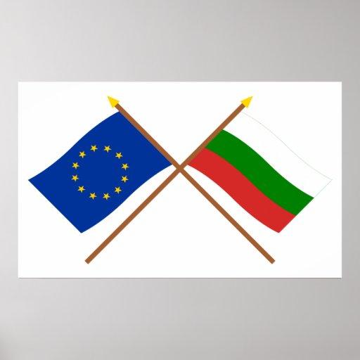 UE y banderas cruzadas Bulgaria Impresiones