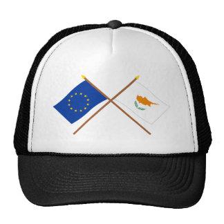 UE y banderas cruzadas Chipre Gorras De Camionero