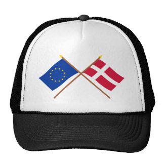 UE y banderas cruzadas Dinamarca Gorras