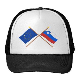 UE y banderas cruzadas Eslovenia Gorra