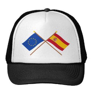 UE y banderas cruzadas España Gorro De Camionero