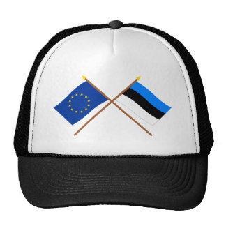 UE y banderas cruzadas Estonia Gorras