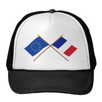 UE y banderas cruzadas Francia Gorras