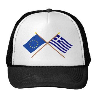 UE y banderas cruzadas Grecia Gorras