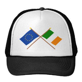 UE y banderas cruzadas Irlanda Gorras