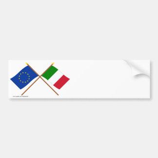 UE y banderas cruzadas Italia Pegatina Para Auto