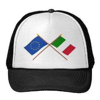 UE y banderas cruzadas Italia Gorro