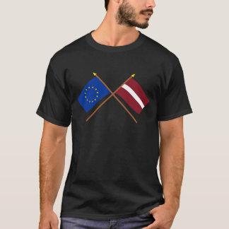 UE y banderas cruzadas Letonia Playera