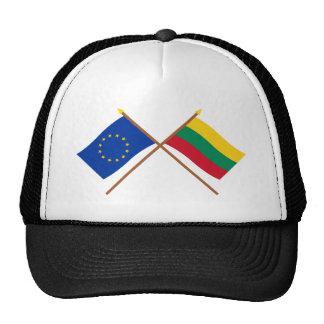UE y banderas cruzadas Lituania Gorro