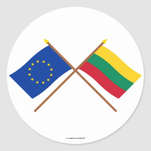 UE y banderas cruzadas Lituania Pegatina Redonda