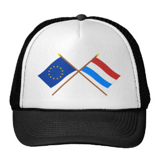 UE y banderas cruzadas Luxemburgo Gorra