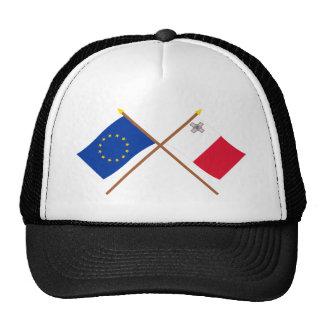 UE y banderas cruzadas Malta Gorro De Camionero