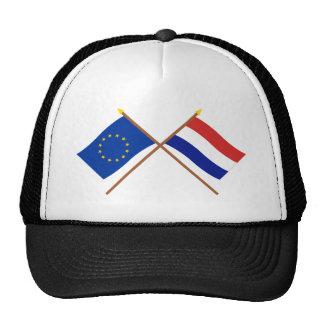 UE y banderas cruzadas Países Bajos Gorros Bordados