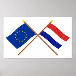 UE y banderas cruzadas Países Bajos Impresiones
