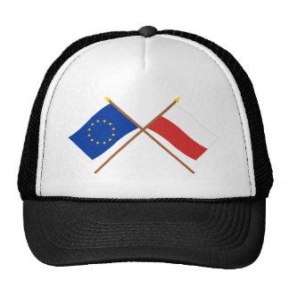 UE y banderas cruzadas Polonia Gorras