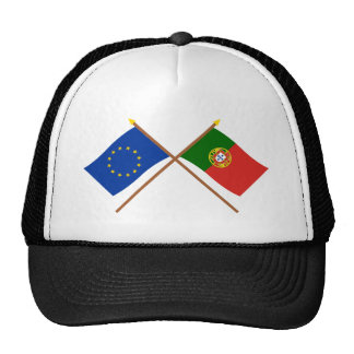 UE y banderas cruzadas Portugal Gorras