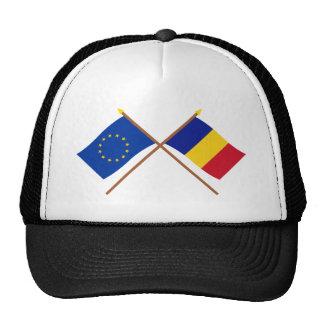 UE y banderas cruzadas Rumania Gorra